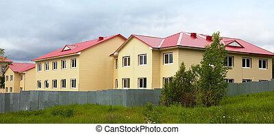 construção, facade., house., acabamento, work.
