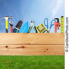 construção, ferramentas, collage.