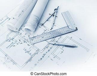 construção, ferramentas, plano