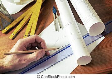 construção, ferramentas, planos
