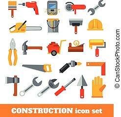 construção, ferramentas, trabalhando
