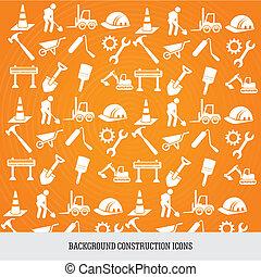construção, fundo, ícones