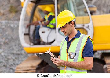 construção, gerente, escrita, relatório