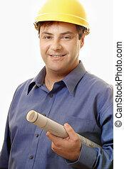 construção, gerente, projeto, gerente