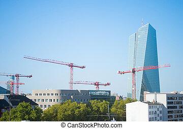 construção, guindastes, europeu, central, banco