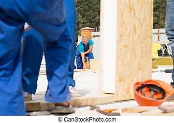 construção, homens, local, trabalhando