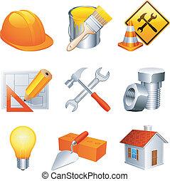 construção, icons.