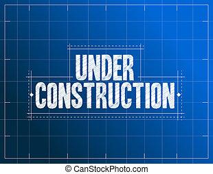 construção, ilustração, sob, blueprint