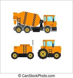 construção, ilustração, vetorial, maquinaria, fundo, branca