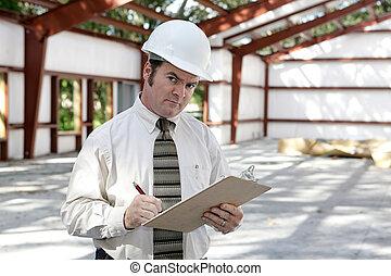 construção, inspetor, suspeito, -
