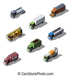 construção, isometric, comercial, serviço, caminhões