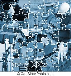 construção, jigsaw