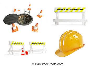 construção, jogo, sob