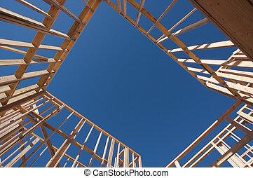 construção, lar, framing.