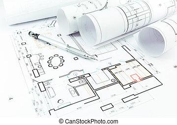 construção lar, planos, e, lápis