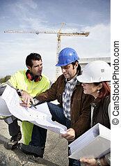 construção, local, equipe