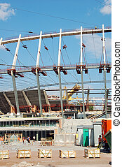 construção, local, estádio