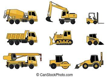 construção, máquinas, icons.
