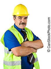 construção, maduras, engenheiro