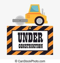 construção, maquinaria, ícone