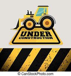 construção, maquinaria, escavador, sinal