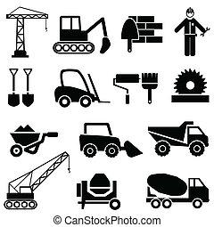 construção, maquinaria industrial, ícones