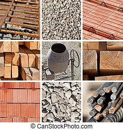 construção, materiais, colagem