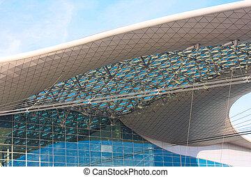 construção, modernos, telhado