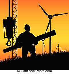 construção, moinhos vento, vetorial, trabalhador, constrói