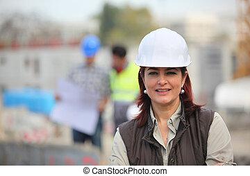 construção, mulher, local, trabalhando