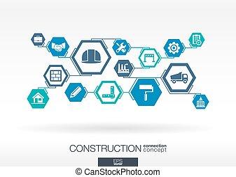 construção, network., hexágono, abstratos, fundo