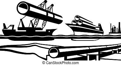 construção, oleoduto, industrial