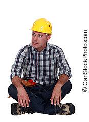 construção, pensativo, worker.