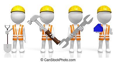 construção, peritos, 3d