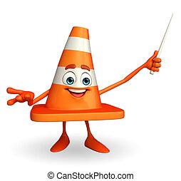 construção, personagem, cone, vara