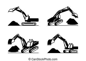 construção, pesado, escavador