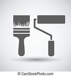 construção, pintar escovas, ícone