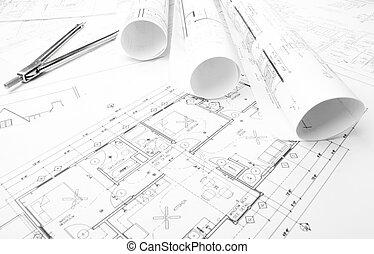 construção, planificação, desenhos