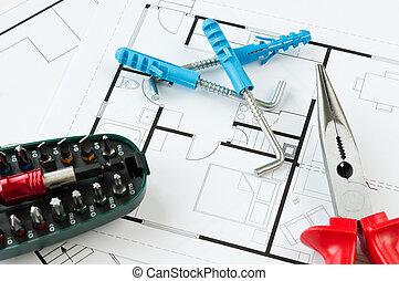 construção, plano, ferramentas