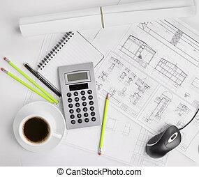 construção, planos, e, café