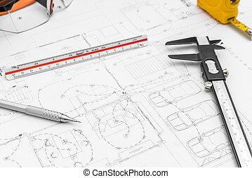 construção, planos, e, desenho, ferramentas, ligado, desenhos técnicos, .