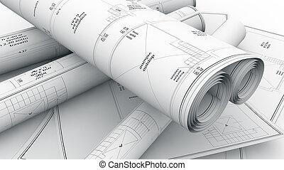 construção, planos, fundo