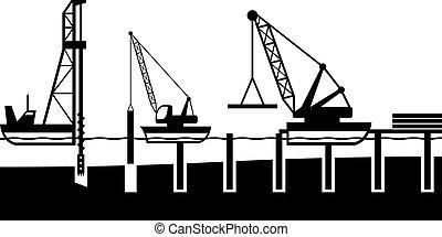construção, porto, mar