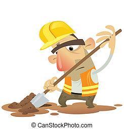 construção, predios, homem, pá, desgastar, capacete, e,...