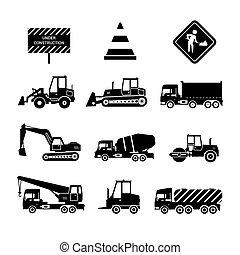 construção, pretas, máquinas