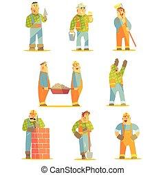 construção, profissionais, construtor, jogo, local