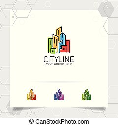construção, propriedade, contratante, vetorial, desenho, conceito, ícone, propriedade, apartamento, logotipo, scape., residência, edifício., real, cidade