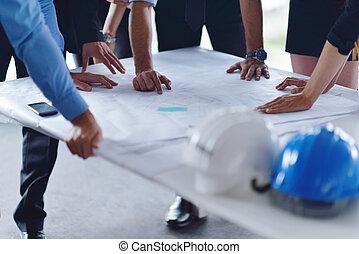 construção, reunião, engenheiros, pessoas negócio