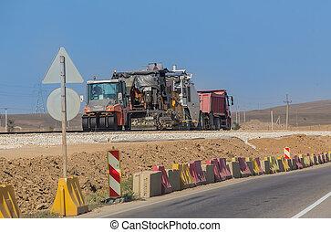 construção, rodovia, equipamento