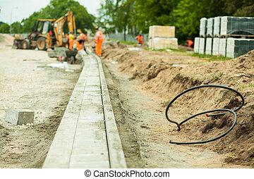 construção, rodovia, zona